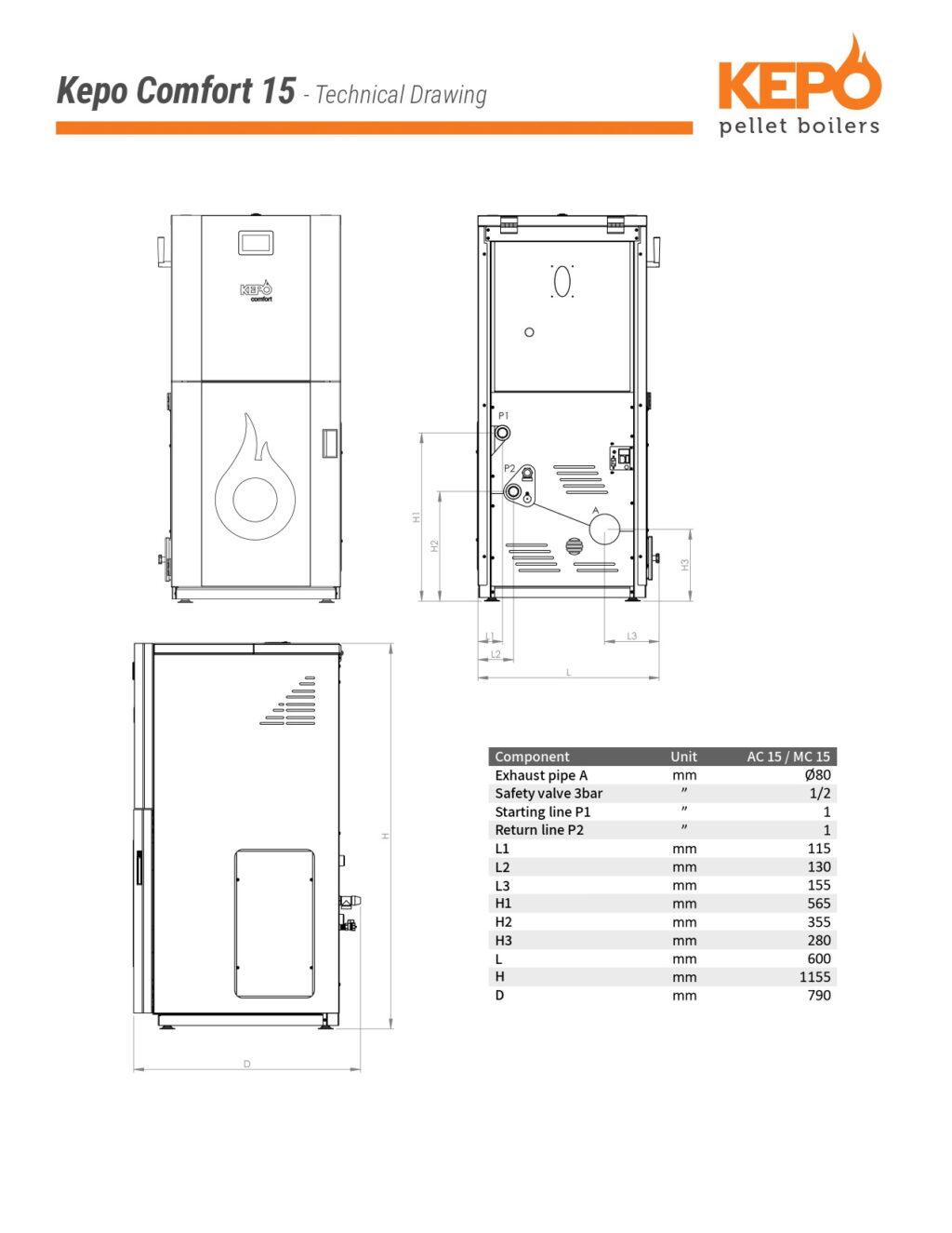 Kepo Comfort15 Techical Drawing